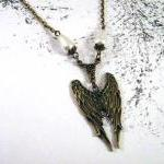 Bronzed angel wings necklace jewelr..