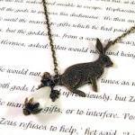 Antiqued bronze bunny rabbit neckla..