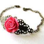 Fuchsia pink resin flower bracelet ..