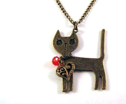 Bronzed cat necklace jewelry with heart charm and red crystal