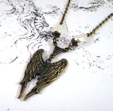 Bronzed angel wings necklace jewelry with white teardrop pearls