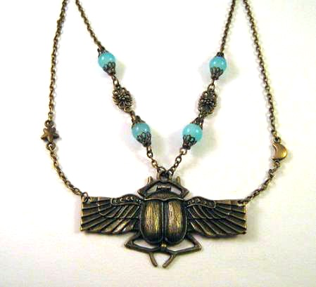 Antiqued bronze Egyptian scarab necklace jewelry with blue stones, moon and star - Beetle necklace