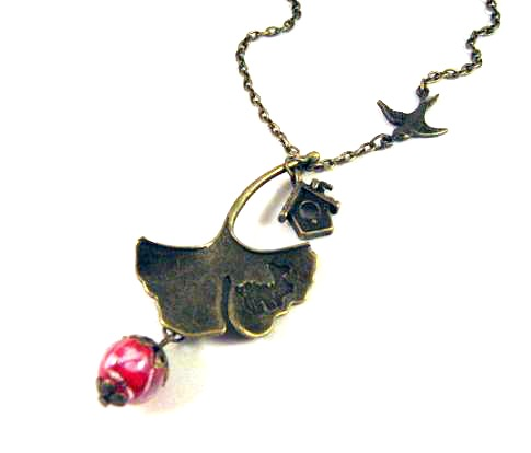 Ginkgo leaf necklace jewelry - Antiqued bronze sparrow necklace with birdhouse and clear red glass bead