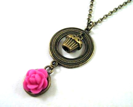 Cupcake necklace pink flower jewelry - Cute necklace pink rose