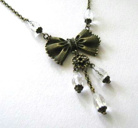 Bow necklace clear faceted teardrop beads jewelry