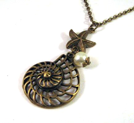 Antiqued bronze shell and starfish necklace jewelry