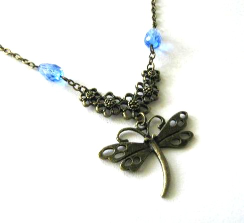Dragonfly necklace with light blue glass beads