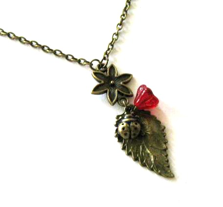 Ladybird and red flower necklace jewelry